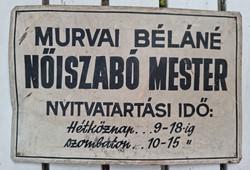 Murvai Béláné Nőiszabó mester tábla, hullámos