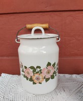 Gyönyörű 3 literes  virágos zománcos tejeskanna, kanna, nosztalgia falusi paraszti dekoráció