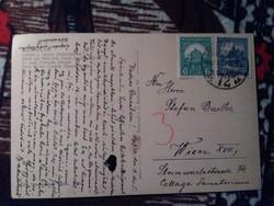 Budapest Látkép 1928. Pengő-fillér (II) 15 Ff. 6f/10f zöld/kék 476/478 ssz. Bélyeg Képeslapon