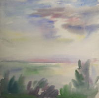 Pituk József: Balaton, akvarell 24x24 cm - tájkép