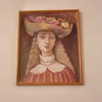Festmény Fiatal lány szép virágos kalapban