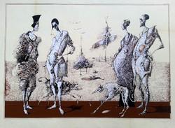 Dienes Gábor - Séta 50 x 70 cm szitanyomat 1985