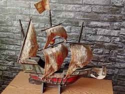 Antik Spanyol gálya hajó modell