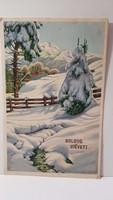 """Régi képeslap """"Boldog Újévet"""" üdvözlőlap, levelezőlap 1947"""