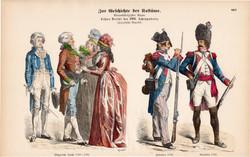 Viselettörténet (66), litográfia 1880, öltözet, ruha, divat, német, francia, katona, polgár, XVIII.
