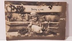 """Régi képeslap """"Boldog Újévet"""" üdvözlőlap, levelezőlap 1914"""