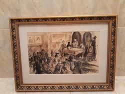 HINCZ GYULA(1904-1986) eredeti akvarell 1950-ből