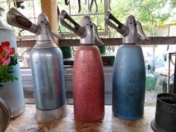 3 db retro fém szódás palack
