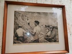 Csáki Maronyák József :Hálójavító halászok