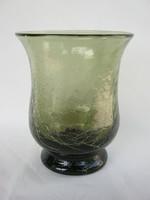 Retro ... Karcagi Berekfürdői fátyolüveg repesztett üveg váza