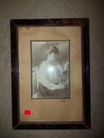 33x22 fészkű öreg, üvegezett képkeret, patinás állapotban