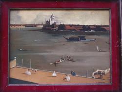 Ismeretlen angol festő: Kilátás a kikötőre, olajfestmény 1910-20as évek