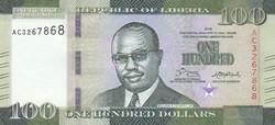 Libéria 100 dollár, 2016, UNC bankjegy