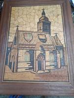 Faberakásos, fa mozaik falikép, templom