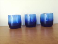 3 db vastag talpú, kék fújt üvegpohár