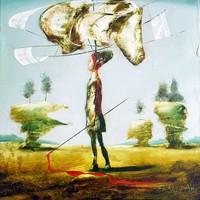 Győrfi András - Fejem felett 50 x 50 cm olaj, vászon