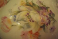 Nagyon szép orchidea mintás, szecessziós porcelán cukortartó.