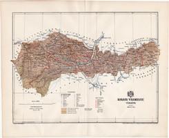 Kolozs vármegye térkép 1894 (2), lexikon melléklet, Gönczy Pál, 23 x 28 cm, megye, Posner Károly
