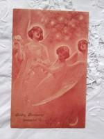 Szecessziós, hosszúcímzéses képeslap/üdvözlőlap angyalokkal, 1904