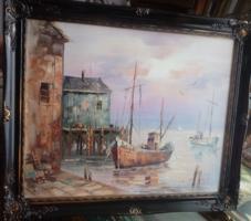 Gyönyörű régi  szép hajós festmény,sötét blondelkerettel minden festmény -50%