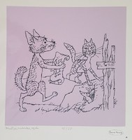 Reich Károly - Kutya, macska, egér 29 x 29 cm színes szita
