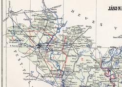 Jász - Nagykun - Szolnok vármegye térkép 1894 (5), lexikon melléklet, Gönczy Pál, 23 x 29 cm, megye