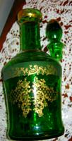 Zöld aranyozott  üveg  palack butella  likőrös kínáló