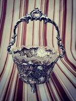 Csodaszép barokk ezüst kosár - Eredeti csiszolt üveggel