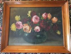 Mesterházy Dénes ( 1900-1949 ) rózsákat ábrázoló csendélete .