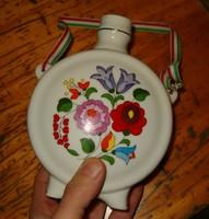 Kalocsa gyönyörű virágos butykos butella szép porcelán kalocsai virágos kézi festésű handpanted