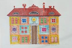 Molnár Gabriella - Ház 18 x 22 cm akvarell, papír