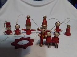 Tíz darab retro karácsonyfadísz fa figura - együtt