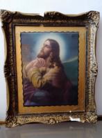 Jézus a Mindenhatóhoz imádkozik - szentkép-  antik blondel keretben