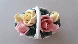 Régi ENS porcelán dísz rózsakosár vintage rózsás kosár 8 cm