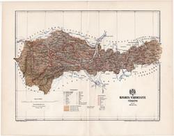 Kolozs vármegye térkép 1894 (3), lexikon melléklet, Gönczy Pál, 23 x 30 cm, megye, Posner Károly