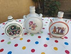 Zsolnay kézzel festett porcelán kulacs, falidísz eladó!3 db
