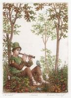 Artner Margit - Az erdő 18 x 13.5 cm rézkarc