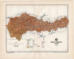 Kolozs vármegye térkép 1894 (6), lexikon melléklet, Gönczy Pál, 23 x 30 cm, megye, Posner Károly