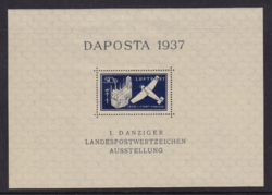 1937 Dutsches Reich Danzig szabad város német bélyeg blokk  III. Birodalom falcos postatiszta