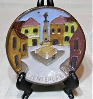 Maurer Katalin - kerámia falitányér, falidísz - Szentendre  - 10 cm