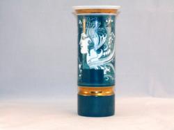 Hollóházi Szász Endre zöld váza 20 cm.