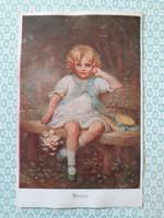 Régi képeslap M. Munk kislány művészi levelezőlap