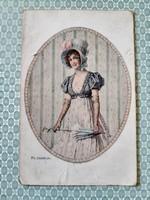 Régi képeslap kalapos hölgy ernyővel levelezőlap