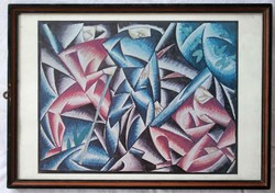 Bortnyik Sándor absztrakt festményéről készült nyomat