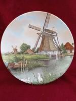 """Vintage Holland Royal Schwabap """"szélmalmos"""" fali tányér"""