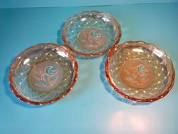 Antik régi vastag falú üveg tányér tálka 3 darab együtt mélyen csiszolt virág mintával