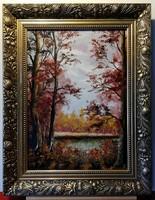 Czinóber - Az ezerarcú ( keretezett mérete 39 x 50, olaj )
