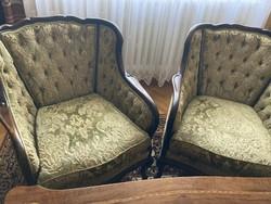 Barokk garnitúra,davos huzattal. Kanapé ággyá alakítható, ágyneműtartós+ 2 db fotel.