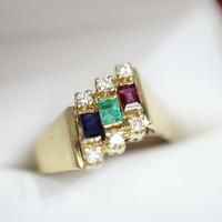 Gyémánt-smarags rubin  14.kr. arany gyűrű.