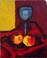 Festmény, Csendélet almákkal és pohárral